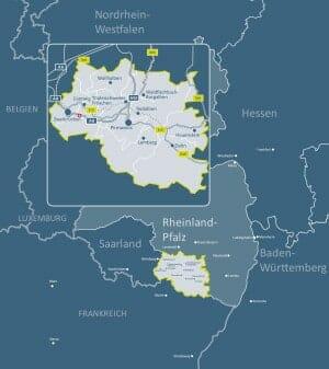 Karte Südwestpfalz, Rheinland-Pfalz